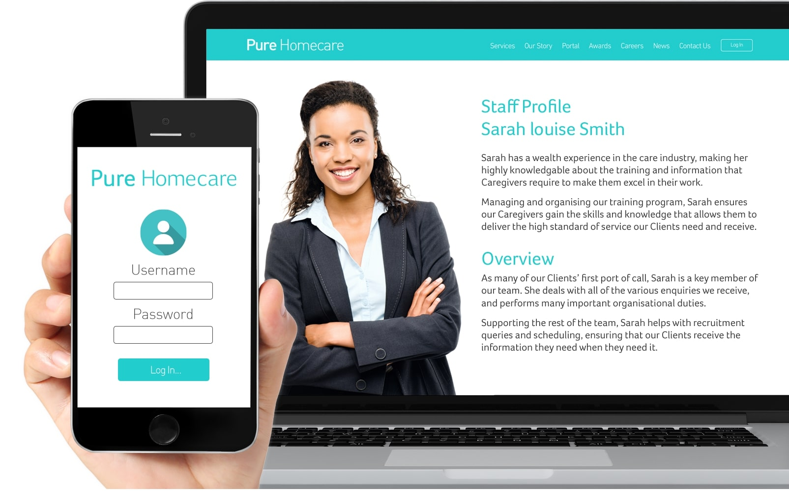 Pure Homecare Leicester and Birmingham - Online Care Portal image